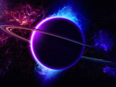 Purple Blue Planet Illustration
