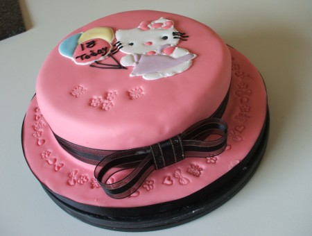 Pink 2 Tier Round Hello Kitty Fondant Cake