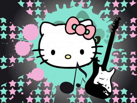 Hello Kitty And Electric Guitar Illustration