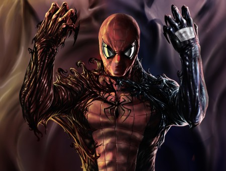 Spider-man Wrapped With Venom Realistic Illustration