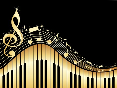 Gold Musical Notes Wallpaper