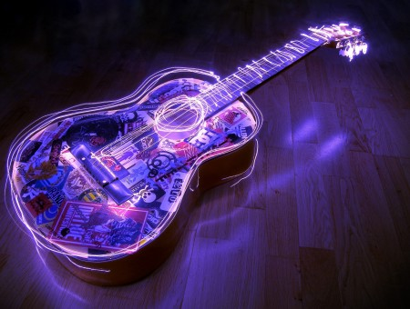 Black And Pink Neon Acoustic Guitar