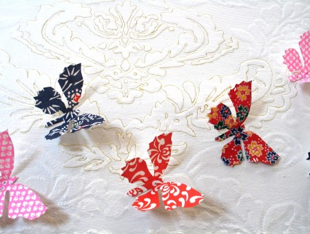 White And Red Floral Butterfly Paper Cutout