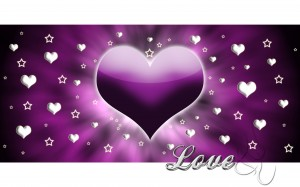 Desktop Wallpaper: Purple Heart Love Il...