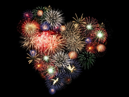 Heart Fireworks Display Illustration