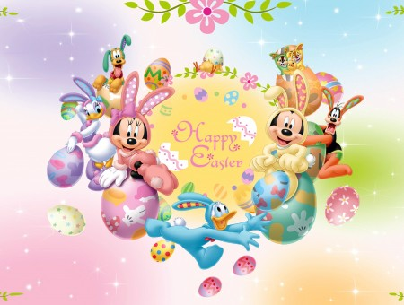 Happy Easter Mickey Mouse And Friends Wallpaper