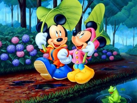Mickey And Minnie Cartoon With Them Walking In The Rain Under Leaves