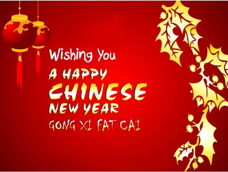 Wishing You A Happy Chinese New Year Red And Gold Poster