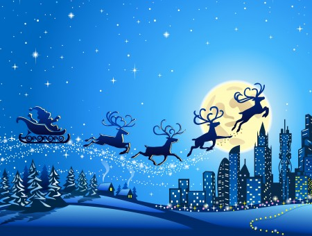 Silhouette Of Reindeer With Santa On Sled Illustration