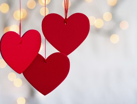 Red Paper Cut Out Hanging Hearts