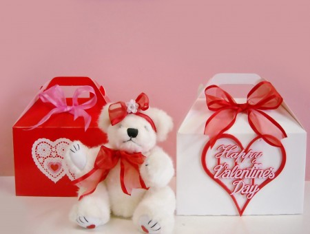 White Bear Plush Toy With Red Ribbon