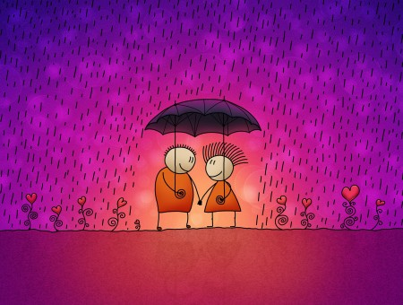 Couple Under 2 Umbrellas While Raining Artwork