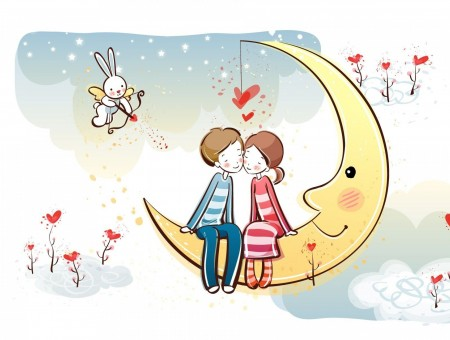 Girl On Boy On Crescent Moon Kissing Illustration
