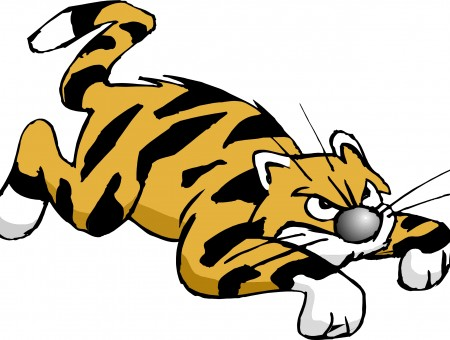 Cartoon Orange Black Tiger