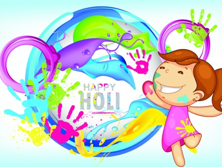 Happy Holi Illustration Of Girl Wearing Purple Dress