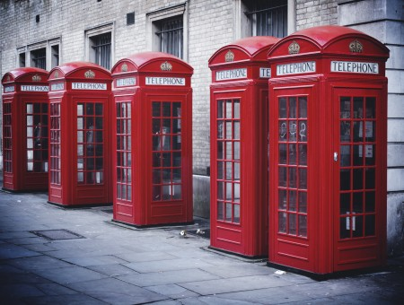 Red And White Telephone Booth