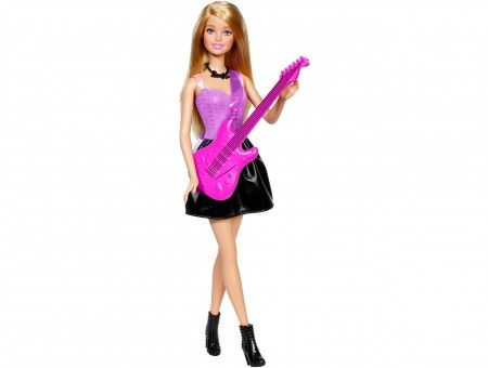 Brown Haired Doll With Pink Guitar