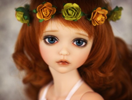 Doll Wearing Flower Crown