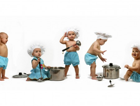 4 Topless Boys In Blue Shorts And Girl In Blue Dress Holding Kitchen Utensils