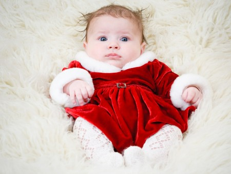 Baby In Red And White On Silk