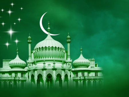 Stars And Crescent Moon Illustration Above Mosque