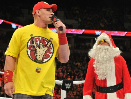 John Cena Beside Man In Santa Claus Costume