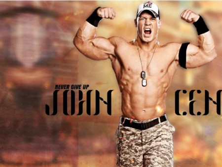 John Cena In Gray Camouflage Pants Flexing