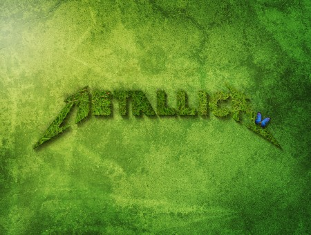 Green Metallica Logo With Blue Butterfly