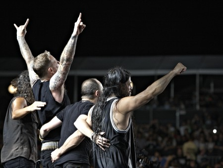 Metallica Standing On The Stage In Front Of The People