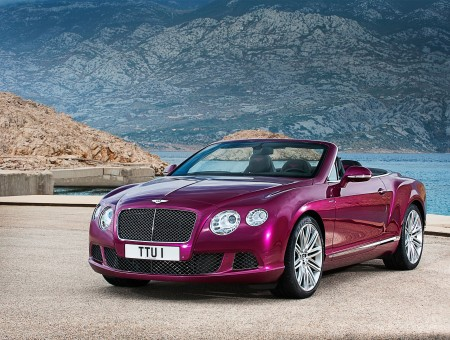 Purple Bentley Convertible Sports Car