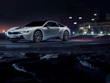 Silver Bmw I8 On Road During Nighttime Wallpapers Every Day