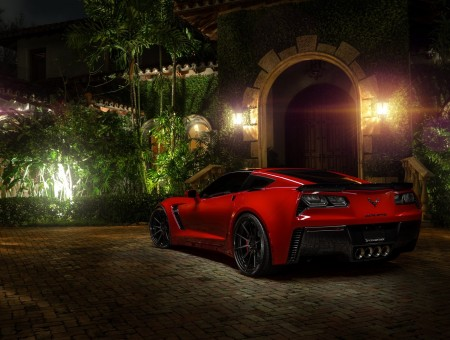 Red Corvette C7 Z06 Parked During Nighttime