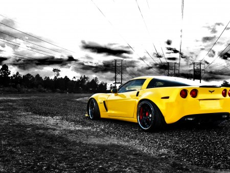 Yellow Chevrolet Corvette Stingray Selective Color Photography