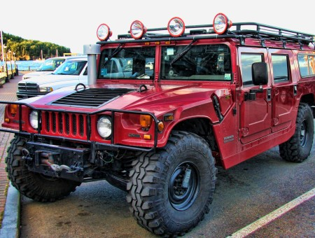 Red Hummer H1 In Parking Lot