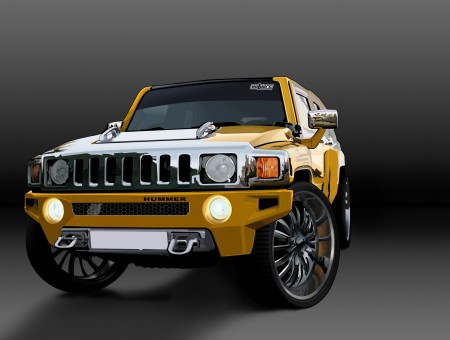 Yellow And Silver Hummer H3
