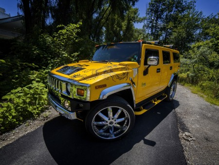 Yellow Hummer H2 In Forest At Daytime