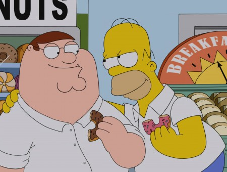 Homer Simpson And Peter Griffin Holding Doughnuts