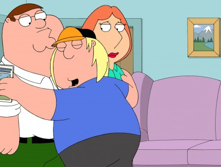 Chris Griffin Hugged Petter And Lois Griffin Near Couch