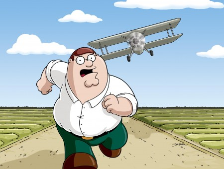 Peter Griffin Being Chased By Plane