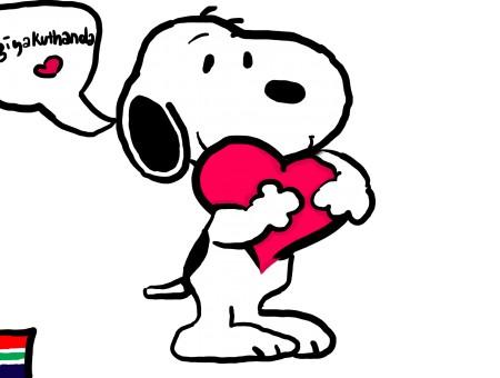 Snoopy Holding A Red Heart Illustration With Black Background