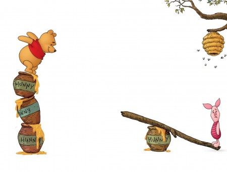 Winnie The Pooh Jumping Onto Teeter Totter With Piglet At Other End
