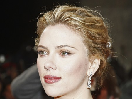 Scarlett Johansson Wearing Silver Earrings