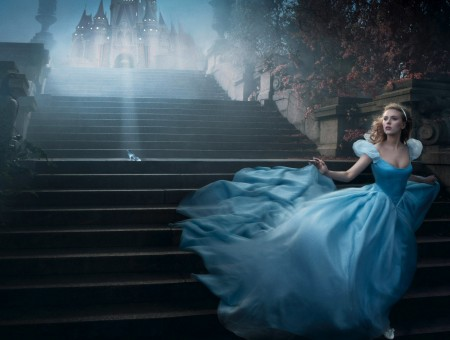 Lily James As Cinderella Running On Stairs