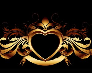 Desktop Wallpaper: Gold Heart With Fleu...