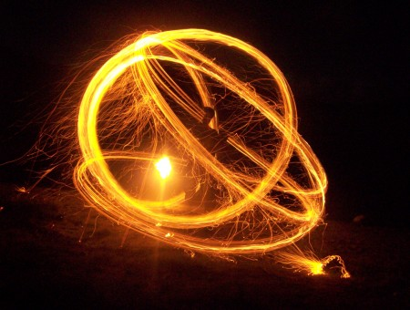 Person Holding Firewool On A Park During Nighttime