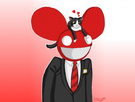 Man In Black Suit With White Red Mickey Mouse Cover Head And Black And White Cat On Top Wallpaper
