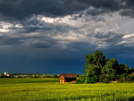 Brown Barn And Trees On Grass Field Under Cloudy Sky During Daytime