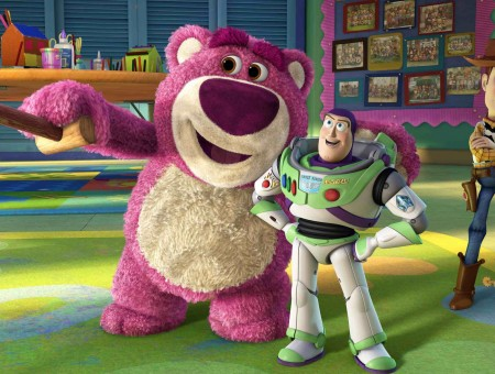Lots-o'huggin' Bear Standing Beside Buzz Lightyear And Woody