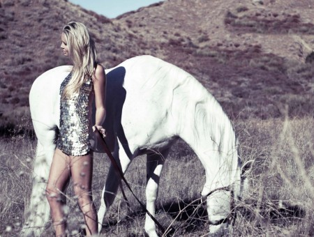White Horse Near Girl Wearing Silver Dress
