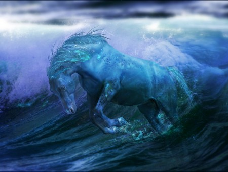 Blue Horse On Sea Wave
